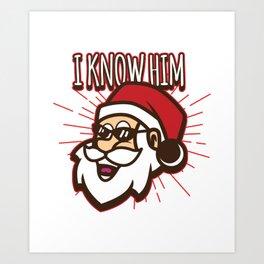 Christmas Festival Santa Gift for Winter Holidays Dark Light Art Print