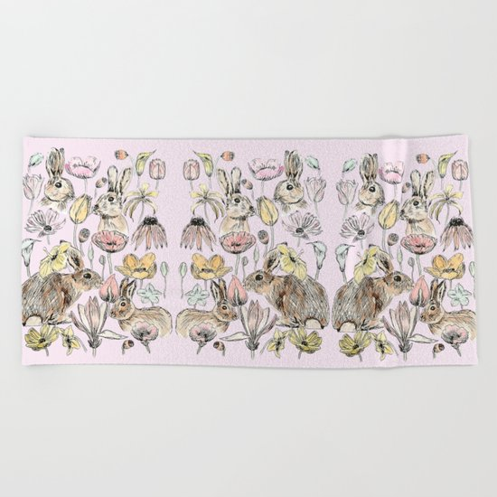 rabbits and flowers with color Beach Towel