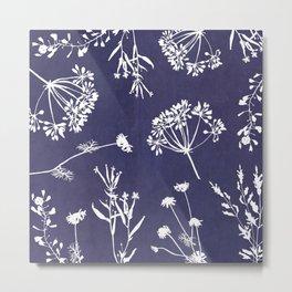 Wildflowers-Indigo Metal Print