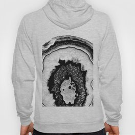 Gray Black White Agate with Black Silver Glitter #2a #gem #decor #art #society6 Hoody