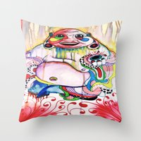 buddah Throw Pillows featuring Buddah by TomDaly