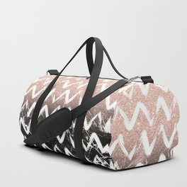 Modern faux rose gold glitter black marble chevron Duffle Bag