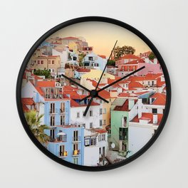 Lisbon sunset Wall Clock
