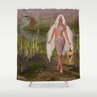 angels Shower Curtains featuring Angels Way by Simone Gatterwe