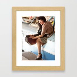 """Flight Deck"" - The Playful Pinup - Airplane Pilot Pin-up Girl by Maxwell H. Johnson Framed Art Print"