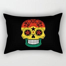 Sugar Skull with Roses and Flag of Ghana Rectangular Pillow