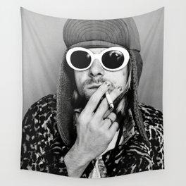 Kurt Cobai-n print, Kurt Cobai-n Poster, Kurt Cobai-n smoking poster, rock music legends poster, Nirvana art poster, iconic grunge portraits Wall Tapestry
