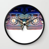 telephone Wall Clocks featuring Telephone by Parastar Arts