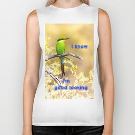 Beautiful swallow-tailed bee-eater with text message. Biker Tank