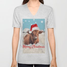 Highland Cow Santa Claus Merry Christmas snow Clouds Unisex V-Neck