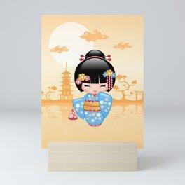 Japanese Maiko Kokeshi Doll Mini Art Print