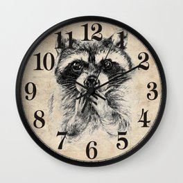 Surprised raccoon Wall Clock