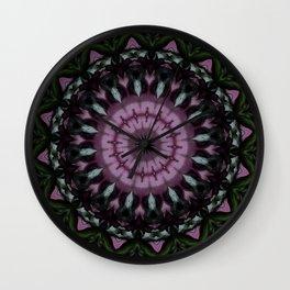 Rose and Jade Mandala Pattern Wall Clock