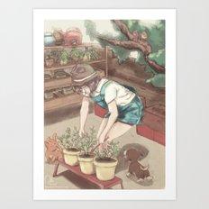 Tendant le Jardin Art Print