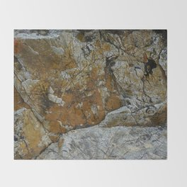 Cornish Headland Cracked Rock Texture with Lichen Throw Blanket