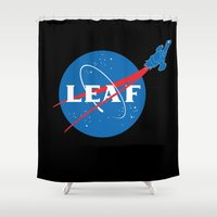 leaf Shower Curtains featuring LEAF by geekchic