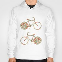preppy Hoodies featuring Whimsical cute girly floral retro bicycle by Girly Trend