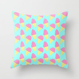 Pink Ice Cream on Blue Throw Pillow