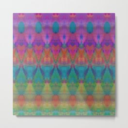 Tribal Diamonds Watercolour Metal Print