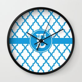 Blue Monogram: Letter E Wall Clock