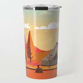 Wild Camping Autumn Landscape Travel Mug