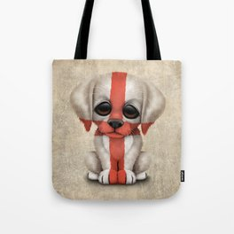 Cute Puppy Dog with flag of England Tote Bag