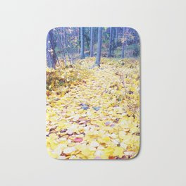 Yellow path in blue forest Bath Mat