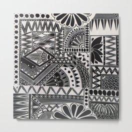 Inverted Retro Flower Doodle Metal Print
