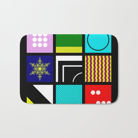 Eclectic 1 - Random collage of 9 bold colourful patterns in an abstract style Bath Mat