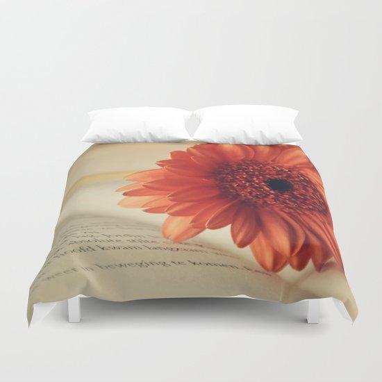 Golden Sunlight Orange Gerbera Duvet Cover