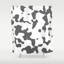 Large Spots - White and Dark Gray Shower Curtain