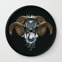 ram Wall Clocks featuring Ram by Compassion Collective