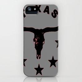 Grey & Black Texas Longhorn Logo Pattern Art iPhone Case