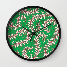 Lacy Leaves Red and Green  Wall Clock