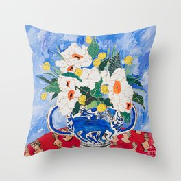 Queen of California - Giant Matilija Poppy Bouquet in Lion Vase on Blue Throw Pillow