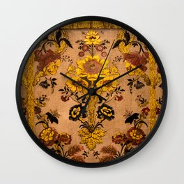 Golden Floral Tapestry Wall Clock