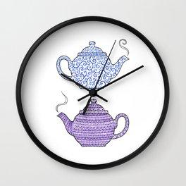Patterned Teapots Wall Clock