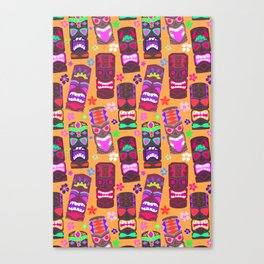 Retro Tiki Mask Luau in Mod Orange Canvas Print