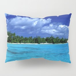 Tahiti Island Waters Over Big, Dramatic Tropical Sky Pillow Sham