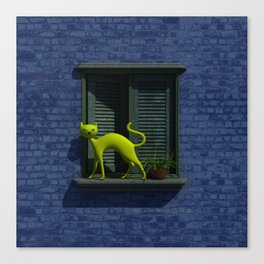 The Yellow Cat - Window By THE-LEMON-WATCH Canvas Print