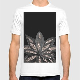 Gray Black Agave with Rose Gold Glitter #1 #shiny #tropical #decor #art #society6 T-shirt