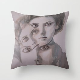 watercolor portrait of the Spirits in Her Head Throw Pillow