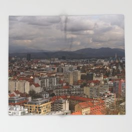 Over The Rooftops of Ljubljana Throw Blanket