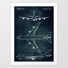 BOEING 747 - First flight 1969 Art Print