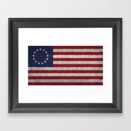 USA Betsy Ross flag - Vintage Retro Style Framed Art Print