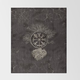 Vegvisir  and Tree of life  -Yggdrasil Throw Blanket