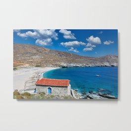 A small chapel in Achla beach of Andros island, Greece Metal Print