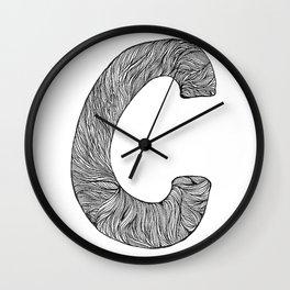 Hand Drawn Font C Wall Clock