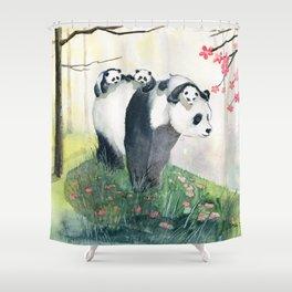 Panda family Shower Curtain