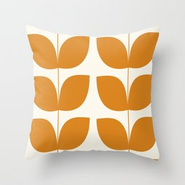 Mid Century Modern Leaves Orange Throw Pillow